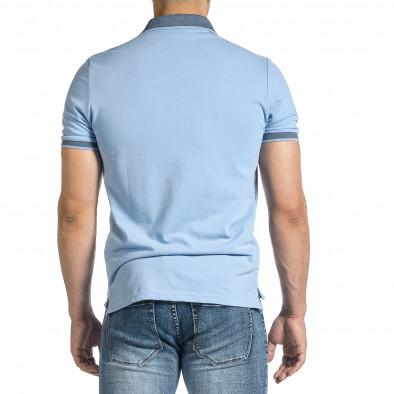 Мъжка светлосиня тениска с яка меланж it150521-13 4
