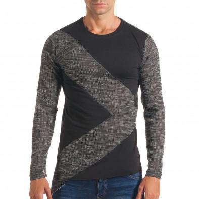 Мъжка тъмно сива блуза с черни части it180816-1 2