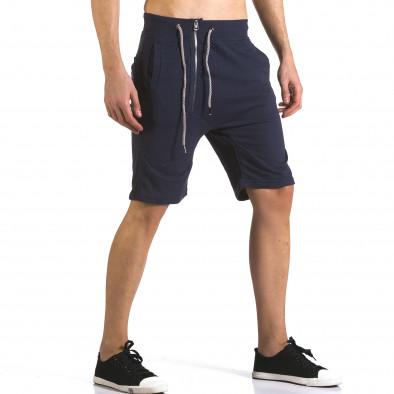 Мъжки сини шорти с цип отпред it110316-81 4