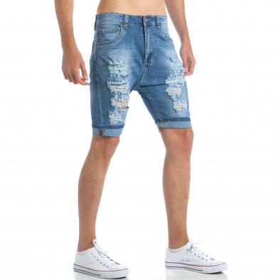 Мъжки къси дънки с големи декоративни скъсвания it190417-57 4