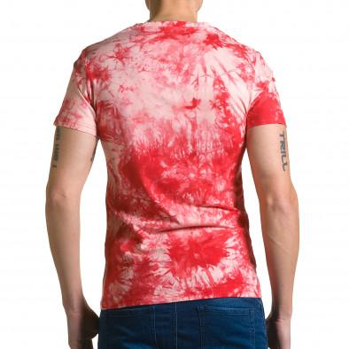 Мъжка червена тениска с бял принт отпред ca190116-44 3