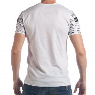 Мъжка бяла тениска с надписи и цифри tsf090617-22 3