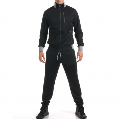 Мъжки черен спортен комплект с декоративен цип it160916-77 2