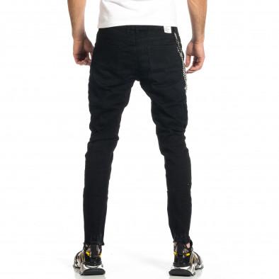 Мъжки черни дънки с прокъсвания и аксесоар gr270421-18 3