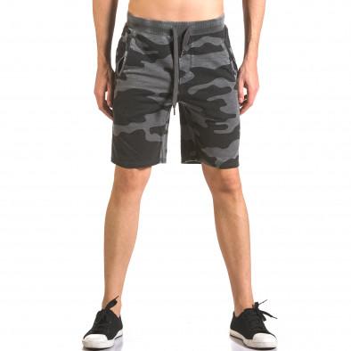 Мъжки къси панталони тип шорти сив камуфлаж ca050416-47 2
