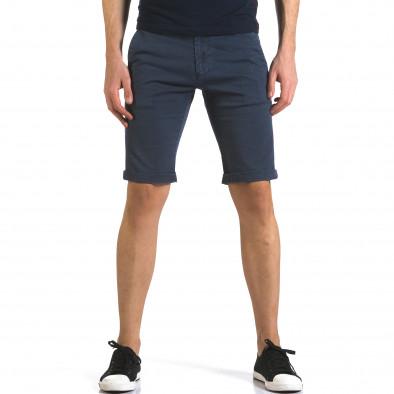 Мъжки сини къси панталони с фин принт по плата Bruno Leoni 5