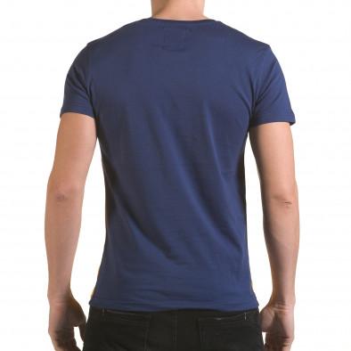 Мъжка синя тениска с жълта долна част Franklin 4