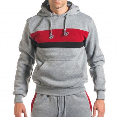 Мъжки сив спортен комплект с 2 ленти отпред it160916-85 4