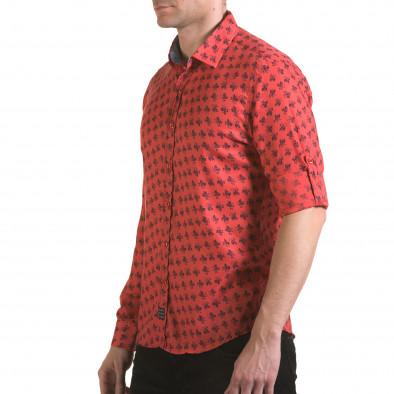 Мъжка розова риза с флорален принт il170216-127 4