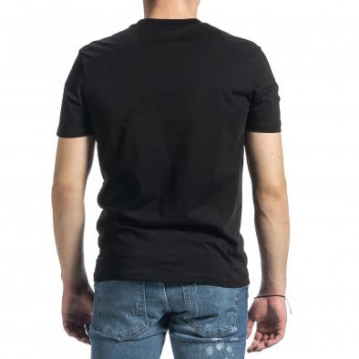 Мъжка черна тениска с принт tr270221-46 3