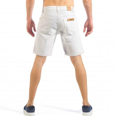 Мъжки бели къси дънки с маншети it260318-122 3