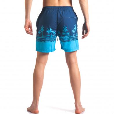 Мъжки сини бански с принт палми it250416-41 3