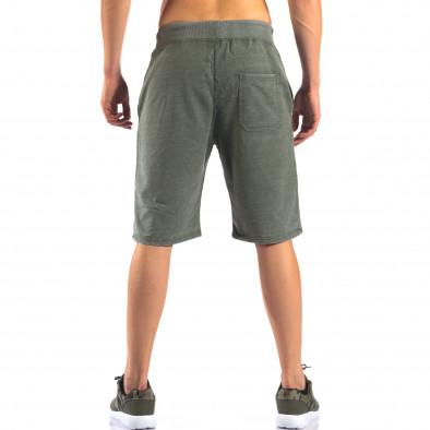 Зелени мъжки шорти с леко избелял ефект it160616-2 3