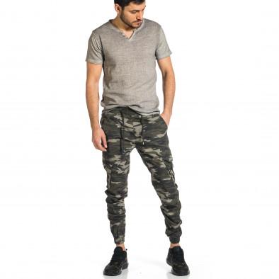 Мъжки карго панталон сиво-зелен камуфлаж tr270421-6 4