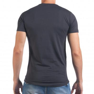 Мъжка синя тениска със зъбци от цип и декоративни скъсвания il060616-92 3