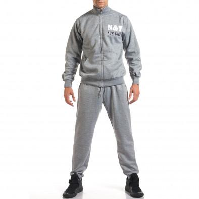 Мъжки светло сив спортен комплект с релефен надпис N&Y it160916-80 2