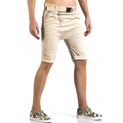 Мъжки бежови къси панталони с колан it110316-42 4