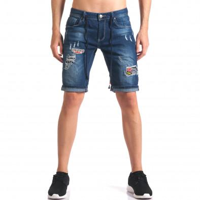 Мъжки къси дънкови панталони с връзки и апликации it250416-35 2