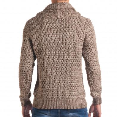 Мъжки бежов зимен пуловер със закопчаване на яката it170816-18 3