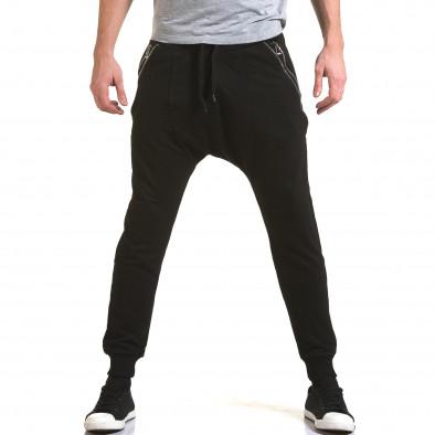 Мъжки черни потури със сребристи ципове it090216-42 2