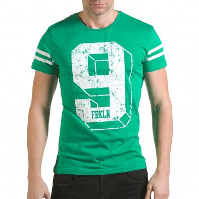 Мъжка зелена тениска с голям номер 9 il170216-19 2
