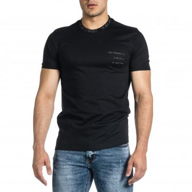 Мъжка черна тениска с декорирано бие tr150521-7 3