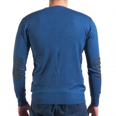Мъжки син пуловер фина плетка it010416-4 3