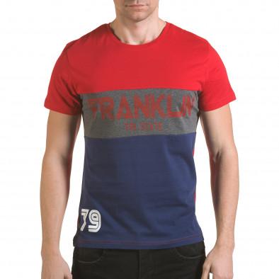 Мъжка червена тениска със синя долна част il170216-13 2