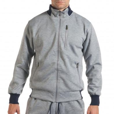 Мъжки светло сив спортен комплект с декоративен цип it160916-75 4