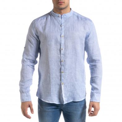 Мъжка синя риза от лен с яка столче tr110320-89 3