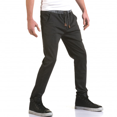 Мъжки тъмно сив панталон с контрастен ластик it090216-31 4