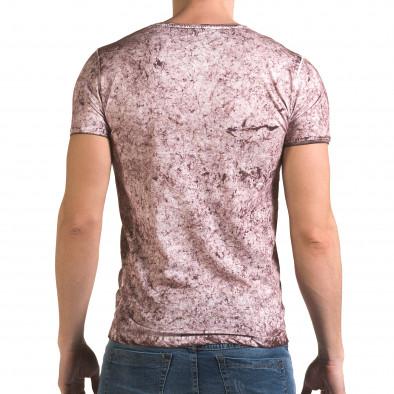 Мъжка розова тениска с избелял ефект il120216-18 3