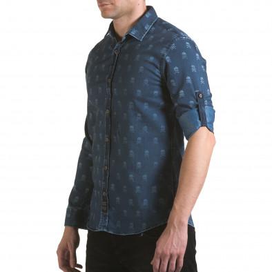 Мъжка риза син деним с черепи il170216-129 4