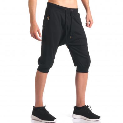 Черни мъжки къси потури с ципове на джобовете it260416-32 4
