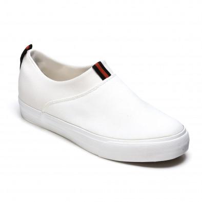 Мъжки бели текстилни кецове без връзки It050216-11 3