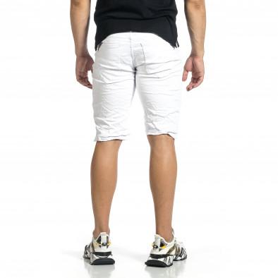 Мъжки бели намачкани къси дънки it150521-35 4
