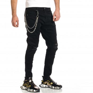 Мъжки черни дънки с прокъсвания и аксесоар gr270421-18 4