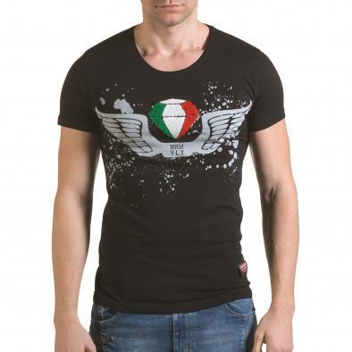 Мъжка черна тениска с принт крила и Италианското знаме il170216-80 2