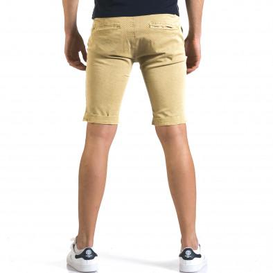 Мъжки жълти къси панталони с малки ромбчета it110316-45 3