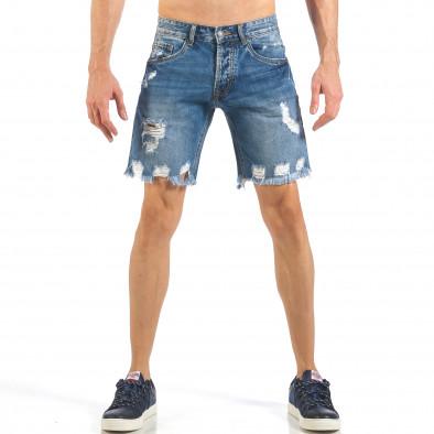 Мъжки непоръбени къси дънки в синьо it260318-123 2