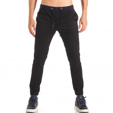 Мъжки черен спортен панталон със сини ленти  it150816-17 2