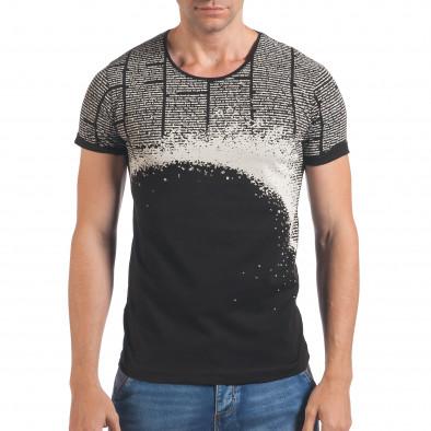 Мъжка черна тениска с вестникарски принт Eksi 4