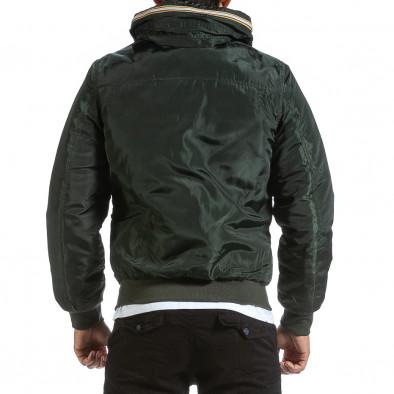 Мъжко зелено яке с прибираща се качулка it070921-28 3