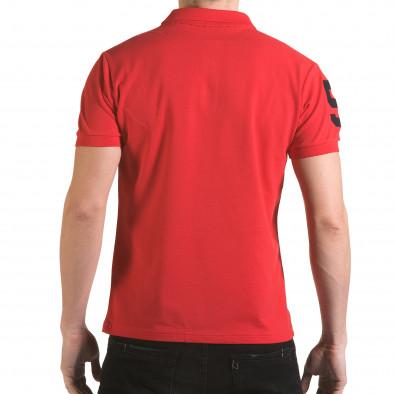 Мъжка червена тениска с яка с релефен надпис Super FRK il170216-24 3