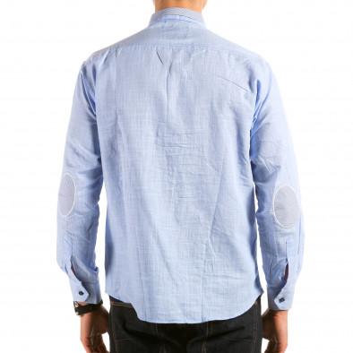 Мъжка синя риза с раирана яка il180215-172 2