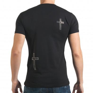 Черна мъжка тениска с череп от сребристи и черни камъни il140416-9 3