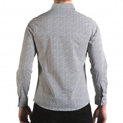 Мъжка бяла риза със синя фигурална шарка il170216-100 3