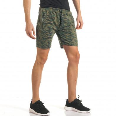 Мъжки шорти кафяво-зелен камуфлаж it140317-98 4