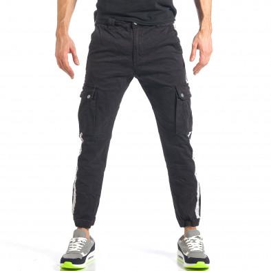 Мъжки черен карго панталон с ленти отстрани it290118-10 2