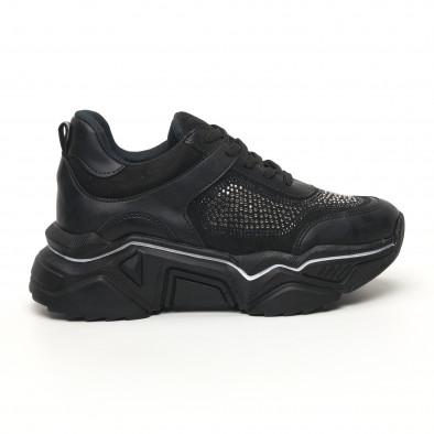 Дамски черни маратонки с камъчета tr180320-17 2
